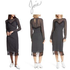 Joie Alamea Dot & Lace Midi Dress XXS NWOT